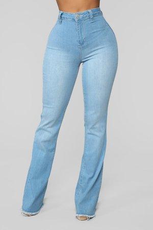 Valentina High Rise Flare Jeans - Light Blue Wash