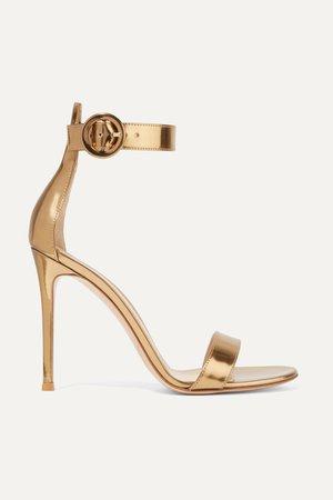 Gold Portofino 105 metallic leather sandals   Gianvito Rossi   NET-A-PORTER