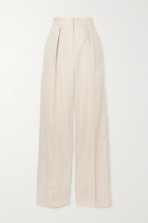 Pleated Linen-blend Twill Wide-leg Pants - White