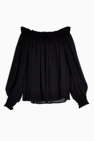 Black Shirred Bardot Blouse | Topshop