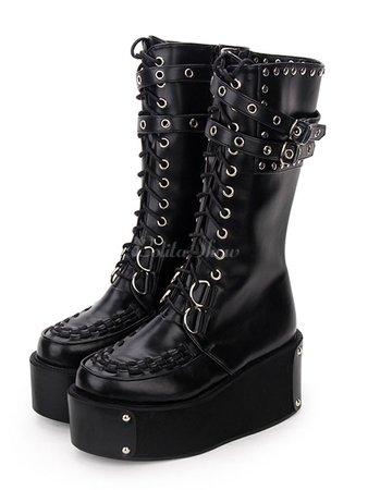 Gothic Lolita Boots Rivet Grommet Buckle Lace Up Zipper Platform Black Lolita Footwear - Lolitashow.com