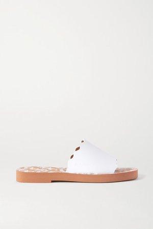 Scalloped Leather Slides - White