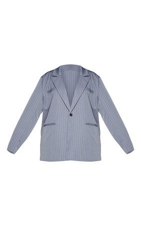 Plus Charcoal Grey Pinstripe Oversized Dad Blazer