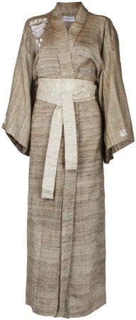 Brown Raw Silk Wrap Kimono-Style Robe