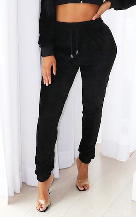 Plt Shape Black Velour Skinny Joggers | Curve | PrettyLittleThing USA