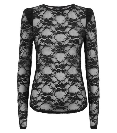 Black Lace Mesh Puff Sleeve Top | New Look