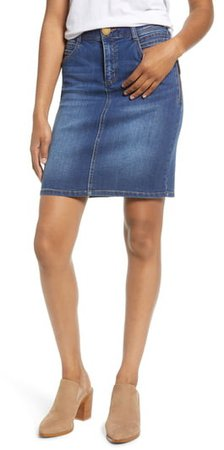 Side Zip Denim Skirt