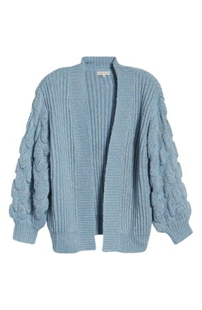 MOON RIVER Bubble Sleeve Open Front Cardigan   Nordstrom