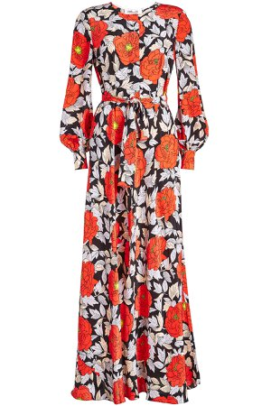 Waist Tie Printed Silk Maxi Dress Gr. US 12