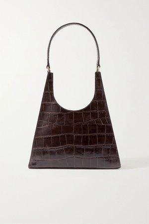 Dark brown Rey croc-effect leather tote | STAUD | NET-A-PORTER