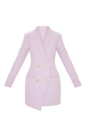 Lilac Gold Button Blazer Dress | Dresses | PrettyLittleThing