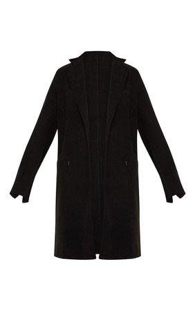 Black Wool Pocket Front Coat | PrettyLittleThing USA