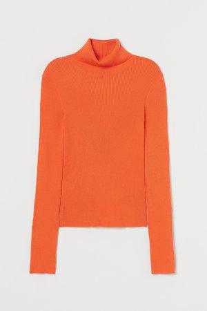 Rib-knit Turtleneck Sweater - Orange - Ladies | H&M US