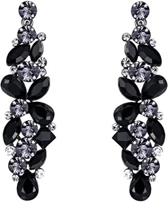EVER FAITH Tear Drop Flower Cluster Dangle Earrings Jet Color Austrian Crystals Black-Tone