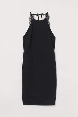 Lace-back Dress - Black