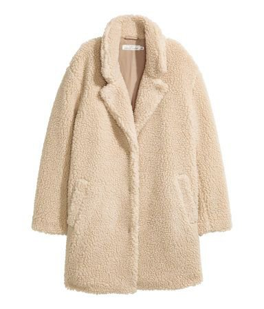 Beige. Short coat in soft pile with notched lapels