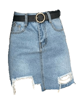 Distressed Jean Skirt with Belt
