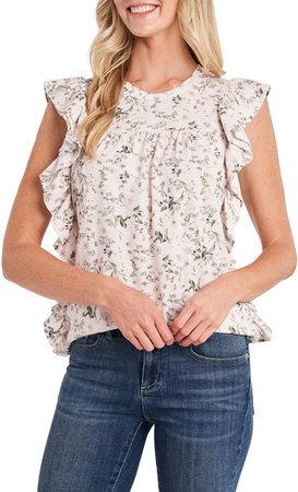 Floral Ruffle Sleeveless Knit Top