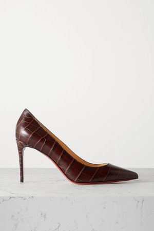 Kate 85 Croc-effect Leather Pumps - Brown
