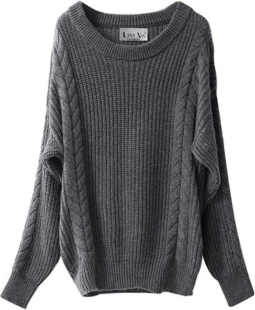 Liny Xin Women's Cashmere Oversized Loose Knitted Crew Neck Long Sleeve Winter Warm Wool Pullover Long Sweater Dresses Tops (Model 2, Navy) at Amazon Women's Clothing store