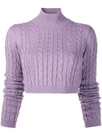 Shop purple Gcds cable-knit cropped jumper with Express Delivery - Farfetch