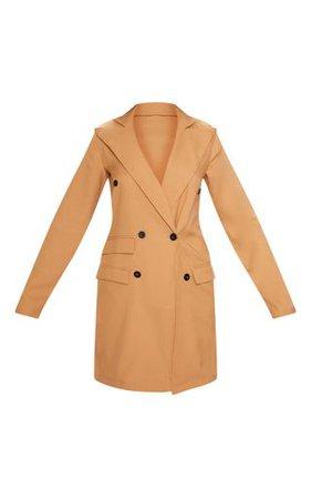 Camel Pocket Detail Blazer Dress | Dresses | PrettyLittleThing USA