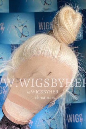 platinum blonde messy top knot lace wig