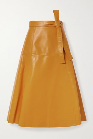 Belted Leather Midi Skirt - Orange