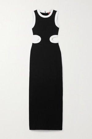 Dolce Cutout Two-tone Stretch-jersey Maxi Dress - Black