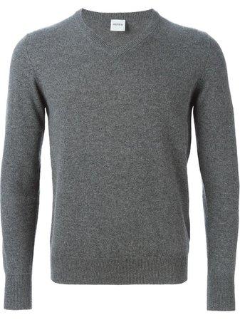 men's gray v-neck sweater