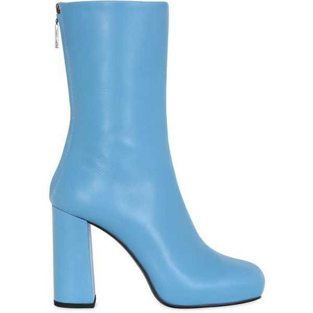 Msgm Women Blue Leather Boots