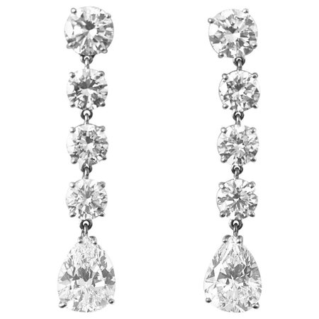 GIA D Flawless Pear Shaped Diamond Drop Earrings For Sale at 1stDibs