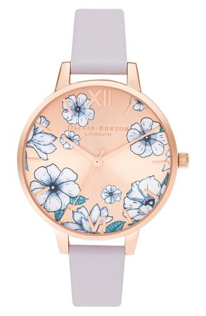 Olivia Burton Groovy Blooms Faux Leather Strap Watch, 34mm | Nordstrom
