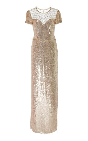 Jenny Packham Delphine Sequined Tulle Gown
