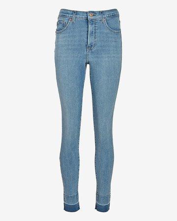 High Waisted 4-Way Hyper Stretch Raw Skinny Jeans