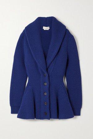 Ribbed Wool Cardigan - Blue