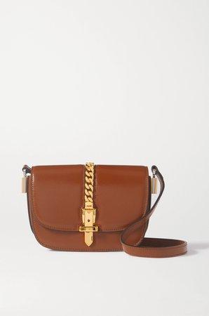 Brown Sylvie 1969 mini chain-embellished leather shoulder bag   Gucci   NET-A-PORTER