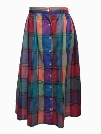 Pastel plaid pink blue button up VTG maxi full swing skirt Small excellent | eBay