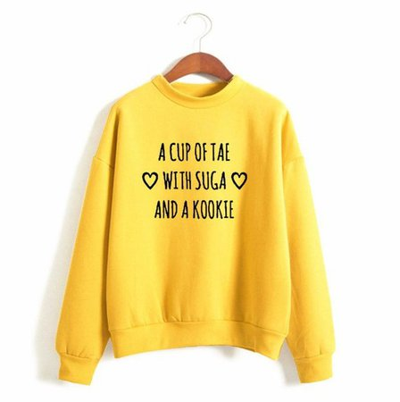 BTS A cup of Tae with Suga and a Kookie Sweatshirt Kpop Warm