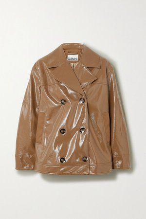 GANNI | Double-breasted faux patent-leather jacket | NET-A-PORTER.COM