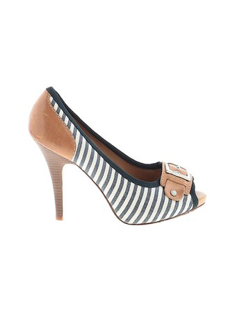 Gianni Bini Stripes White Blue Heels Size 8 1/2 - 67% off | thredUP