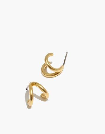 Double-Prong Huggie Hoop Earrings