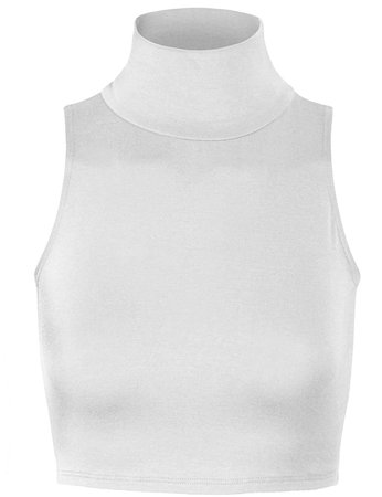 White Sleeveless Turtleneck Top