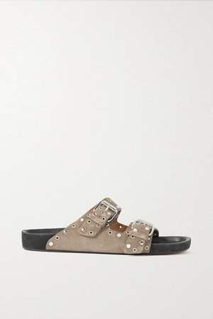 Lennyo Studded Suede Slides - Taupe