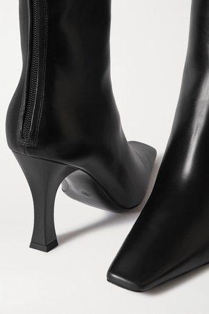 Black Office leather boots | The Row | NET-A-PORTER