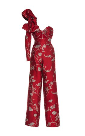 Johanna Ortiz Jagger One Shoulder Jacquard Jumpsuit