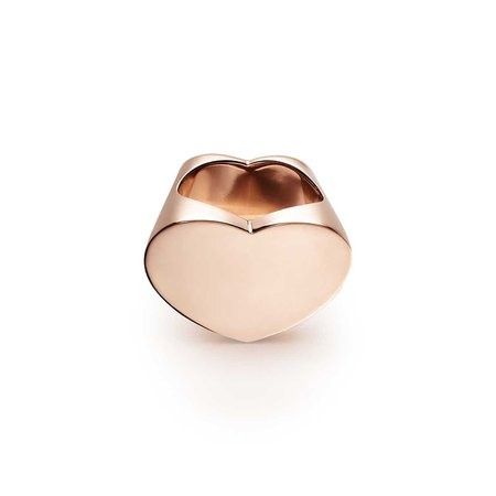 Paloma Picasso® Double Modern Heart ring in 18k rose gold. | Tiffany & Co.
