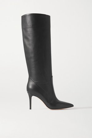 85 Leather Knee Boots - Black