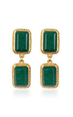 Odyssey Gold-Plated And Malachite Earrings by VALÉRE   Moda Operandi