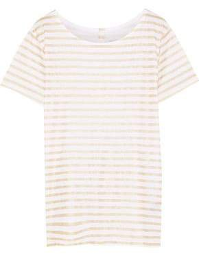 Metallic Striped Slub Linen-jersey T-shirt